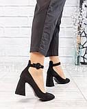 Туфли женские на фигурном каблуке черные, фото 2