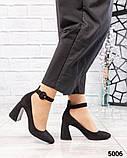 Туфли женские на фигурном каблуке черные, фото 3