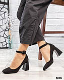 Туфли женские на фигурном каблуке черные, фото 4