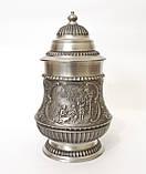 Пивной оловянный бокал с шикарным сюжетом, пищевое олово, Германия, 600 мл, фото 3