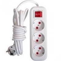Електричний подовжувач з вимикачем на 3шт/5м