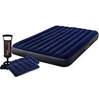 Надувной матрас Classic Downy Airbed Fiber-Tech, 152х203х25см с подушками и насосом
