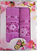 Набор полотенец махра банное и лицевое 2 шт (W663)