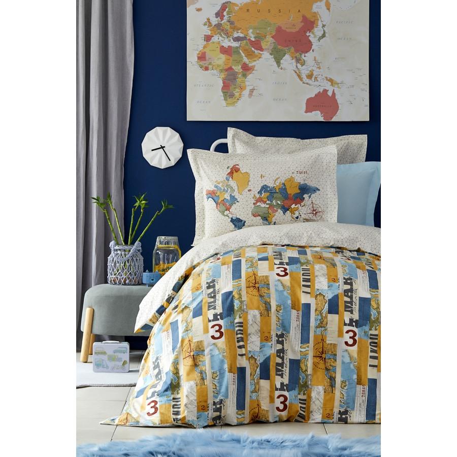 Постельное белье Karaca Home - Farte mavi 2019-2 голубой ранфорс подростковое