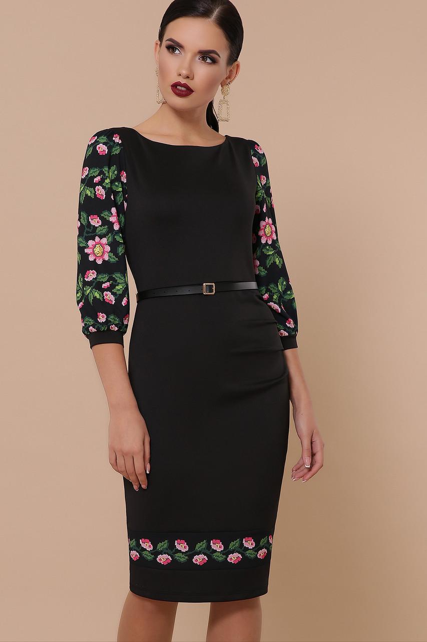 Платье облегающее черное с цветами Андора