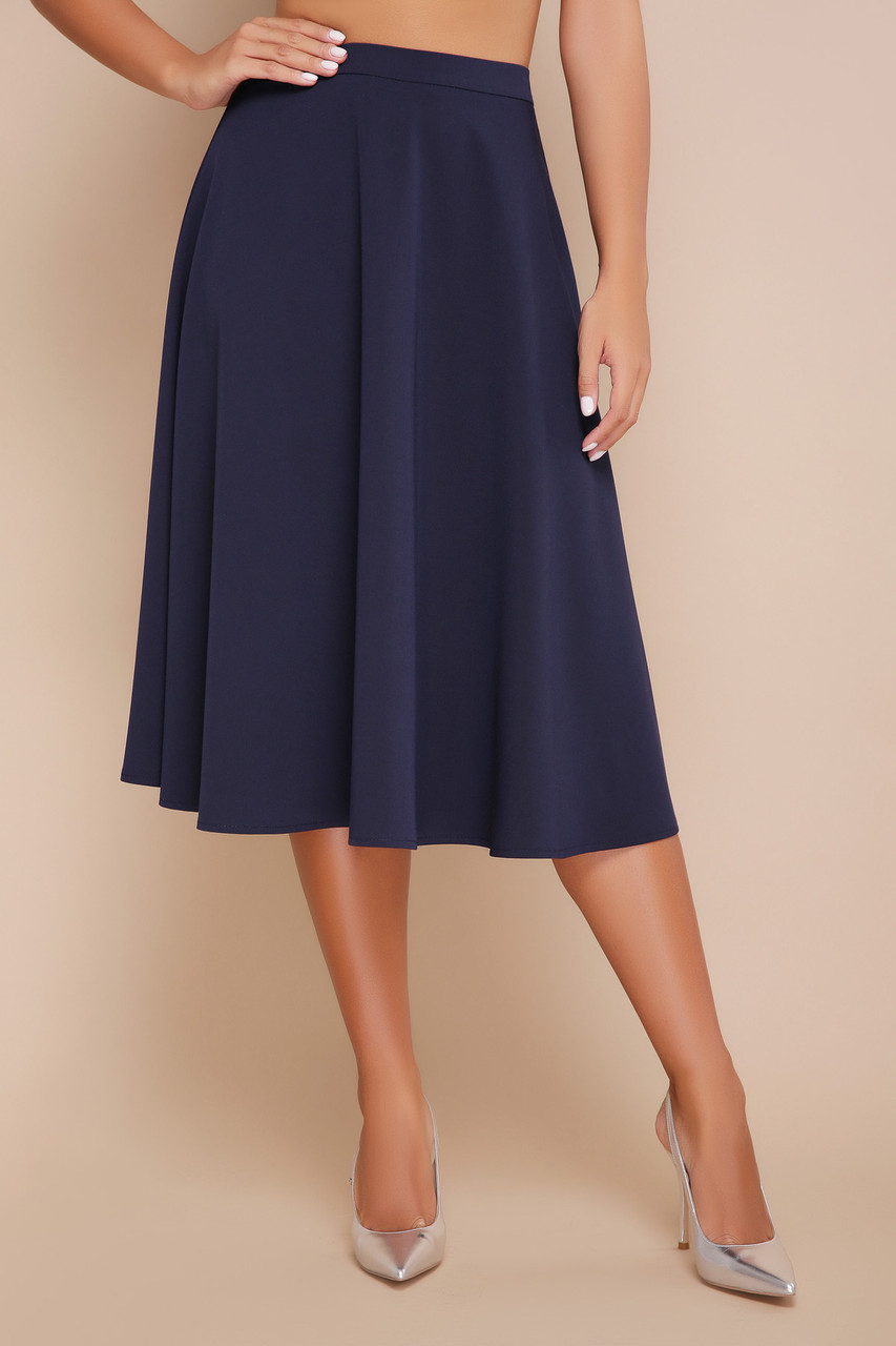 Легкая хлопковая расклешенная юбка синяя