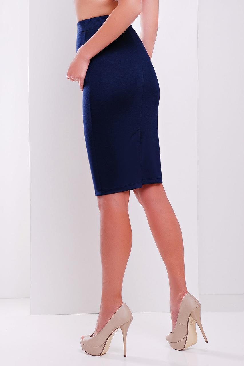 Облегающая трикотажная юбка миди синяя