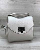 Мини рюкзак сумка женская серебро Chris WeLassie