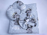 """Конверт + подушка для новорожденного, """"Мишки на сером"""""""