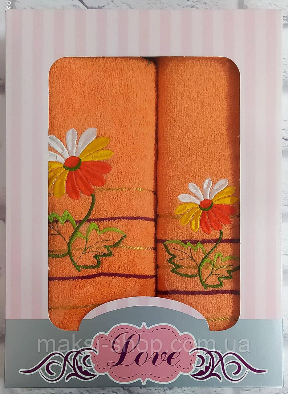 Набор полотенец махра банное и лицевое 2 шт (W671)