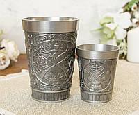 Коллекционный оловянный бокал и рюмка из олова, Германия, охота, фото 1