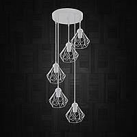"""Подвесной металлический светильник, современный стиль """"SKRAB-5GW"""" Е27  белый цвет"""