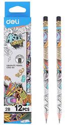 """Олівець ч / г Deli EU53300 мікс 2B """"Arti Graff"""" трикутний б / ласт зао"""