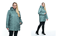 Женская, модная, весенняя, демисезонная удлиненная куртка больших размеров р- 54, 56, 58, 60, 62, 64, 66,68,70
