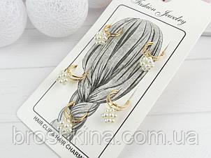 Набор сережек для волос металл с бусинами 3 набор/уп.