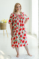 Жіноча легка біла нічна сорочка (ночнушка XXL) з червоним квітковим принтом №220