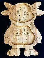 """Дерев'яна дошка для подачі дитячих страв """"Лунтік"""""""