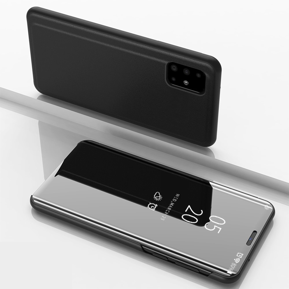 Чехол книжка для Samsung Galaxy A51 A515 боковой с зеркальной поверхностью, Черный