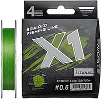 Шнур Favorite X1 PE 4x 150m (l.green) #0.6/0.128mm 12lb/5.4kg