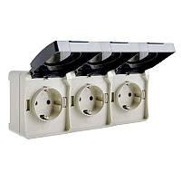 Розетка с заземлением тройная ВС20-3РК, 250В, 16А, защита IP54, УФ-защита, ElectrO