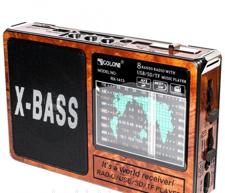 Радіоприймач GOLON RX-1413 портативна акустика з вбудованим акумулятором USB LED-ліхтар