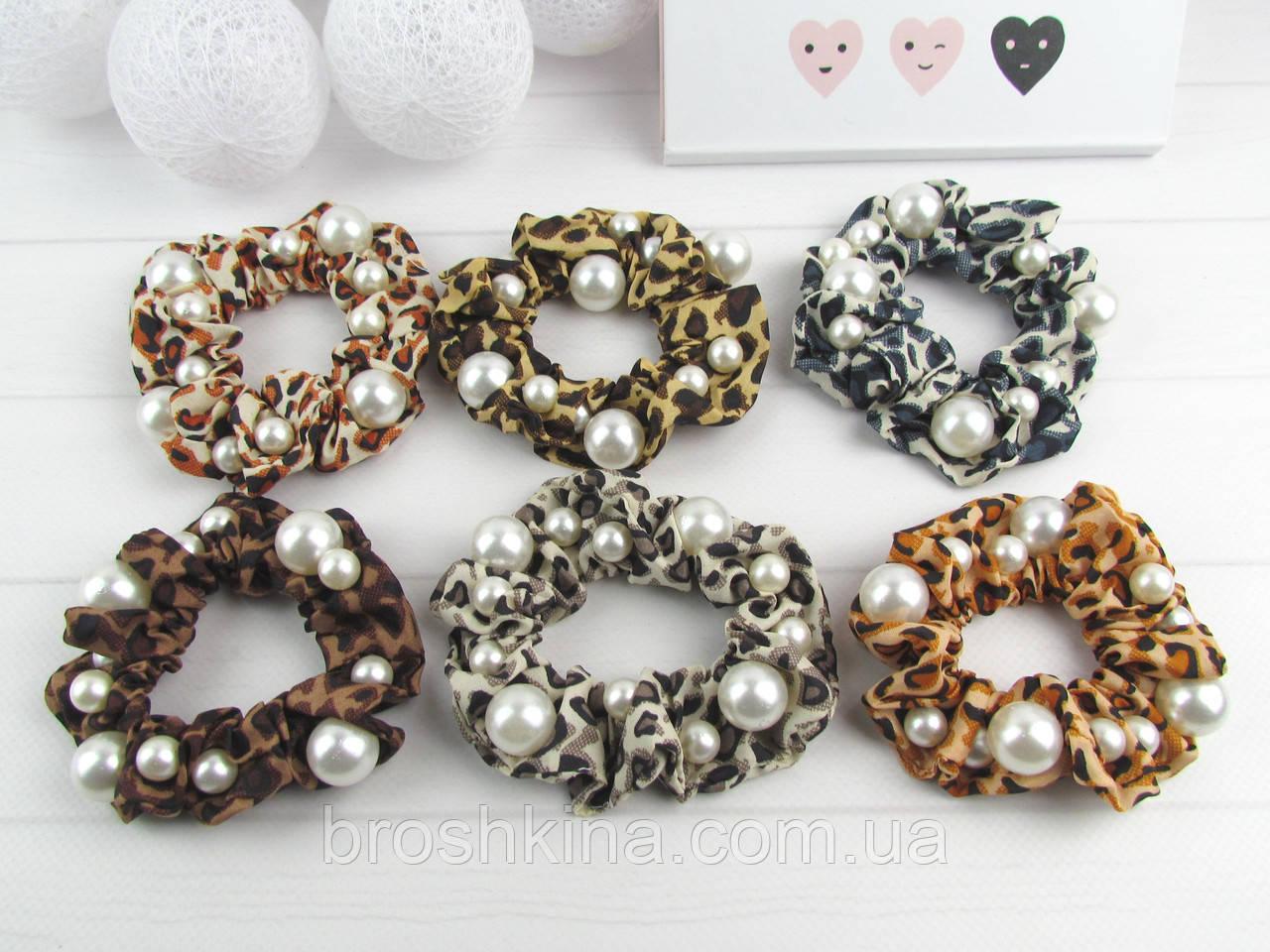 Гумки для волосся текстиль Ø 8 см з перлами 12 шт/уп.