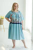 Жіноча легка батистова голуба нічна сорочка (ночнушка XXL) з квітковим принтом №221