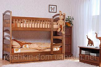 Двох'ярусне ліжко Аріна 80*190 з ящиками з натурального дерева (дитячий, трансформер)