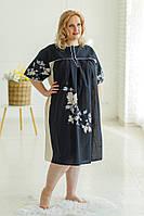Жіноча легка батистова бежево-чорна нічна сорочка (ночнушка XXL) з квітковим принтом №222