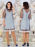 Женкое элегантное нарядное платье (сетка синяя,черная) от48 до 54р, фото 1
