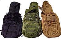 Тактическая EDC сумка-рюкзак однолямочный. Цвета: олива, койот, чёрный, фото 1