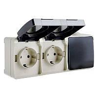 Выключатель одноклавишный и розетка с заземлением двойная ВС20-2РК1В, 16А, защита IP54, УФ-защита, ElectrO