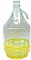 Бутылка 5л с ручкой и пластмассовой пробкой в корзине