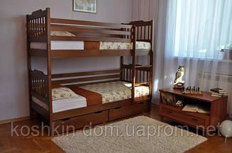 Двухъярусная кровать Ева 80*190 с ящиками, из натурального дерева (детская, трансформер)