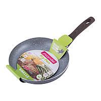 Сковорода 24см с антипригарным покрытием Grey marble из алюминия для индукции и газа KM-4113