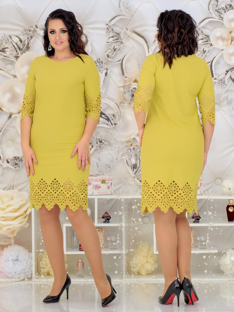 Нарядное женское платье с лазерной резкой по ткани 48-54р. (2расцв)