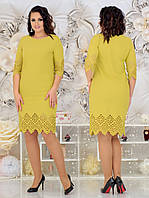 Нарядное женское платье с лазерной резкой по ткани 48-54р. (2расцв), фото 1