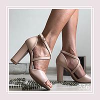 Женские босоножки на высоком устойчивом каблуке, беж кожа