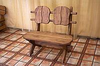 Лавочка скамья со спинкой из термодерева 1100х370 мм. от производителя Thermo-treated Oak bench 01