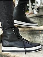 Мужские ботинки кожаные высокие Chekich CH055 Black/white 40 размера, фото 1