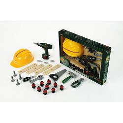 Детский набор инструментов с каской и шуруповертом дрель пила Klein Mega Bosch 8418