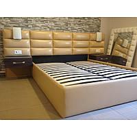 """Двуспальная кровать """"Ultra"""" 160*200 с мягким изголовьем,тумбочками, бра и подъемным механизмом"""