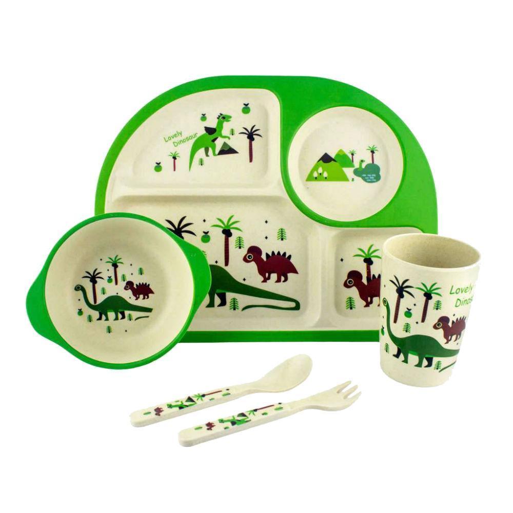 Набор детской бамбуковой посуды Динозаврик (5шт)