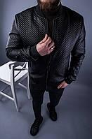 Куртка мужская чёрная демисезонная кожанка осень-весна кожанка мужская чёрная демисезонная