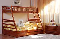 Двухъярусная кровать Юлия 140/90*200 с ящиками, из натурального дерева (детская, трансформер)