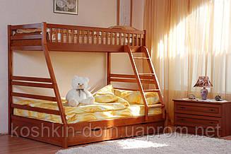 Двох'ярусне ліжко Юлія 140/90*200 з шухлядами, з натурального дерева (дитячий, трансформер)