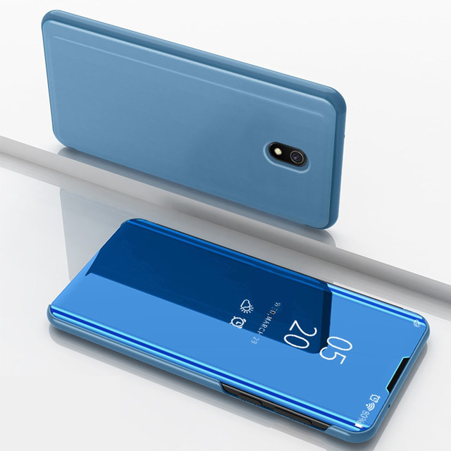 чехол книжка Xiaomi Redmi 8A с зеркальной поверхностью голубой