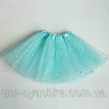 Юбка-пачка пышная юбочка балерины на 2-8 лет мятная со звездами