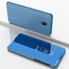 Чехол книжка для Xiaomi Redmi 8a боковой с зеркальной поверхностью, Голубой