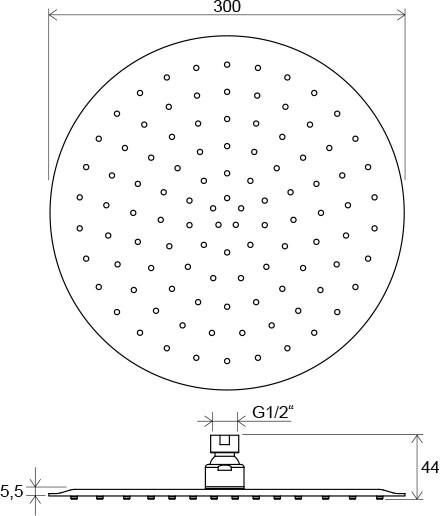 Верхній душ Chrome круглий 300 мм